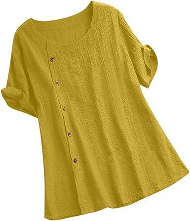 VEMOW Camisas de Mujer Blusas Tops Suelta Color sólido Algodón y Lino O-Cuello Manga Corta Camiseta Blusa: Amazon.es: Ropa y accesorios