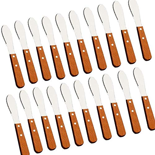 (MBB 20 Pack Wood Handle Stainless Steel Butter Knives Butter Spreader Server for Breakfast Spreads Cheese Condiments)