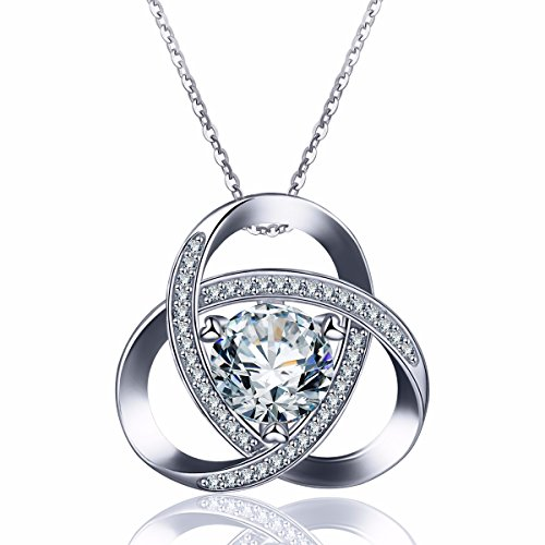 EUDORA Triquetra Celtic Knot CZ 925 Sterling Silver Necklace Pendant 18