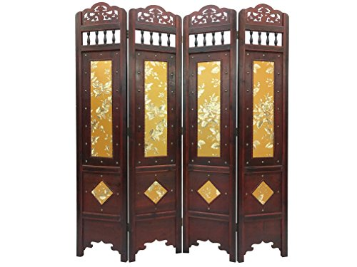 (Styled Shopping Vintage Gold Flower 6 ft. Tall Wood Room Divider Screen)