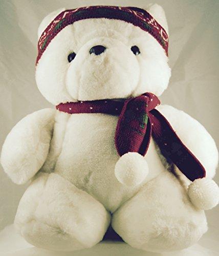 1987-dayton-hudson-marshall-fields-santabear-christmas-plush-christmas-tree-knit-cap-scarf-17-inches