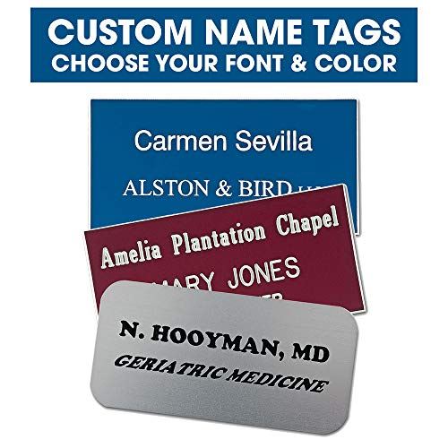 (Custom Engraved Name Tags- Up to 3 Lines of Text - Choose Your Font and Color- Personalized Name Tags (Square Corners))