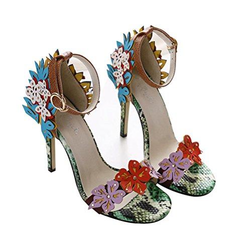 QPYC Señoras Open Toe Serpentine Flowers One Word hebilla sandalias de tacón bajo boca banquete de boda Women's Shose color