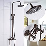 Rozin Bath 2 Knobs Mixer Shower Faucet Set 8-inch Top Rainfall Showerhead with Handheld Spray Copper Color