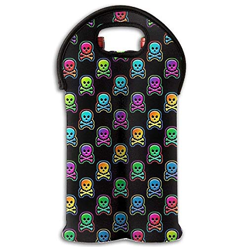 Wine Tote Carrier Bag Skull Rainbow Colour Purse for Champagne,Water Bottles New18