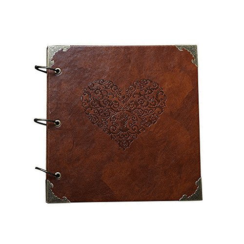 ToiM Retro and Vintage Embossed Heart-Shaped Pattern Leatherette Cover Scrapbook, Handmade DIY Wedding Photo Album Anniversary Gift Photo Book