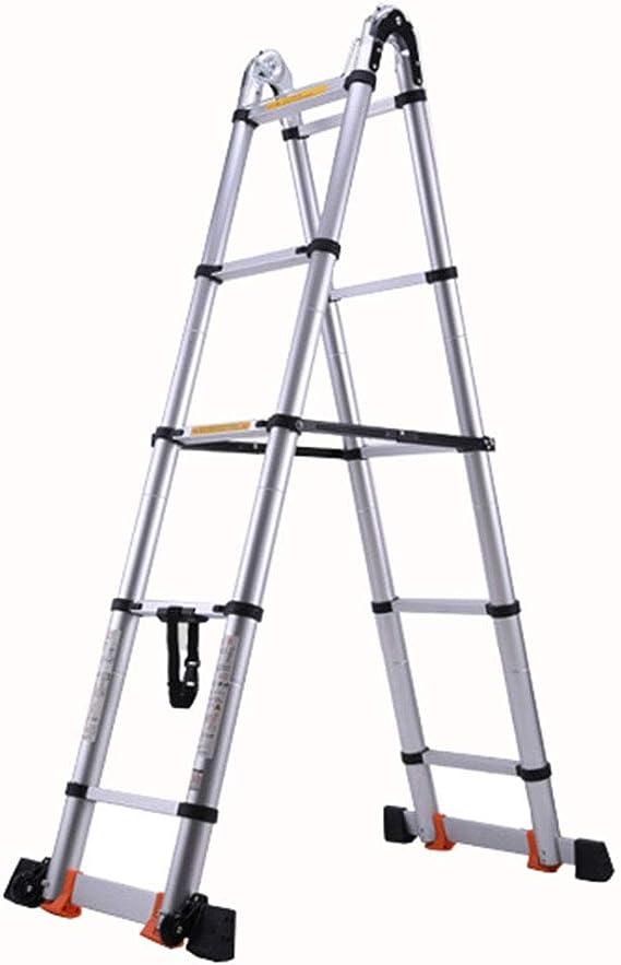 LJSJT Escalera Telescópica Escalera Tipo A De múltiples Fines Aleación de Aluminio Múltiples Formas Escalera de 5 escalones Peso del rodamiento 150kg Altura Vertical de 4.2m.: Amazon.es: Hogar