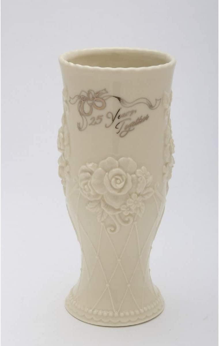 Cosmos Gifts 20916 25th Anniversary Vase, Beige