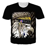 RAISEVERN Unisex Black Top Indian Eagle All Over Print Hip Hop Tees T Shirt XL