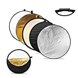 "CRAPHY 5-in-1 Handle 43""/110cm Collapsible Multi-Disc Round Light Reflector Portable Diffusers Kit with Carrying Bag - (Translucent, Silver, Gold, White, Black)"