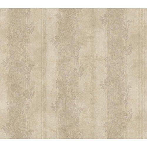 Acanthus Leaf Stripe - York Wallcoverings GF0816 Gold Leaf Acanthus Stripe Wallpaper, Pearlescent Pinkish Beige/Pinkish Brown