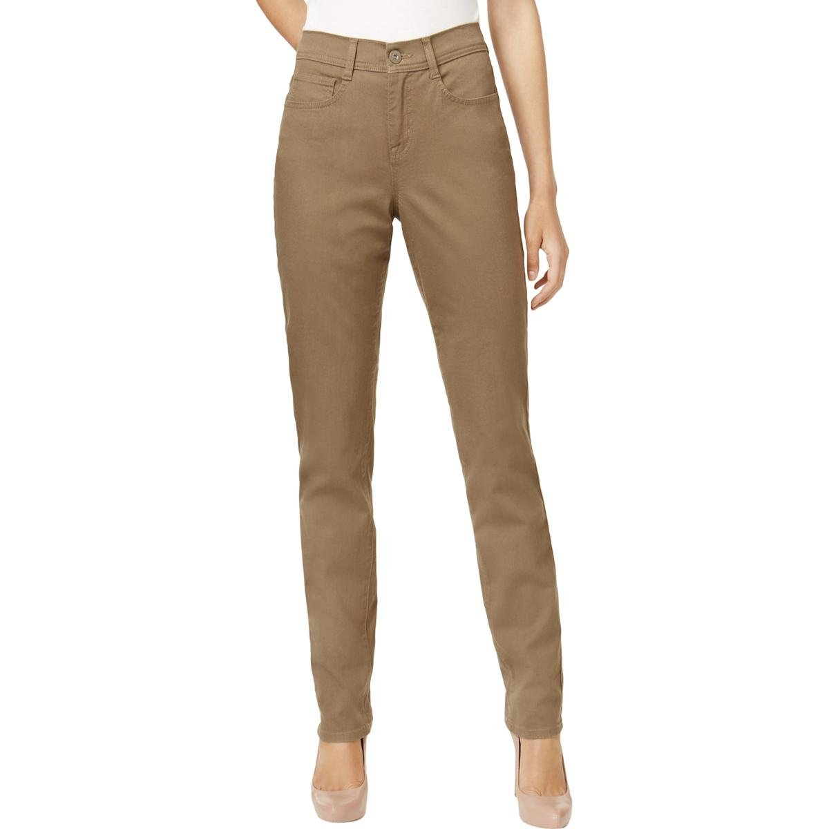 Style & Co. Womens High Rise Tummy Control Slim Jeans Taupe 18