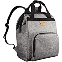 HapTim Multifunction Diaper Backpack with Stroller Straps Insulated Pouches (Gray 5337)