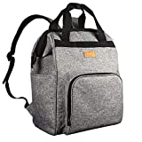 Diaper Bag Backpack, HapTim Large Multifunction Travel Back Pack Maternity Baby Nappy Changing Bags with Stroller Straps Insulated Pouches (Gray 5337)