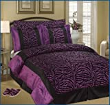 Full / Queen Short Fur Black / Purple Zebra Comforter Set Bedding-in-a-bag