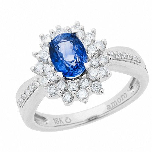 Amoro 18k White Gold Sapphire and Diamond Ring (0.60 cttw, H-I Color, SI2 Clarity) ()