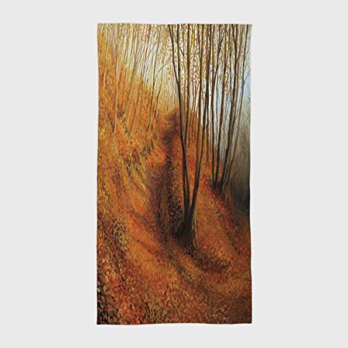 Cotton Microfiber Hotel SPA Beach Pool Bath Hand Towel,Country Decor,Silent Autumn Afternoon in Pale Colored Forest with Falling Leaves Fall Painting Art,Orange Brown,for Kids, Teens, and Adults by iPrint (Image #6)