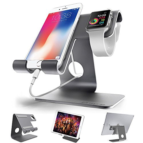 ZVEproof Cell Phone iphone and Apple Watch Charging Station Stand Dock Cradle for all Android Smartphone, iPhone 6 6s 7 8 X Plus for Desk, Nintendo Switch, Tablets (42 mm iWatch Case included) - Grey from ZVEproof