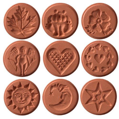 JBK Pottery Unique Cookie Stamps, Set of - Pottery Mold Ceramic