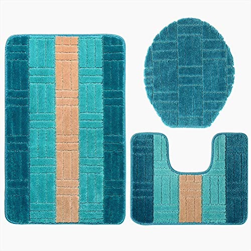 Bathroom Rug Mats Set 3 Piece Toilet Carpet Rugs Includes Contour Mat and Lid Cover, Non Slip Shaggy mat Machine Wash/Dry, Perfect Plush Mats for Tub Shower (Bright Blue 32