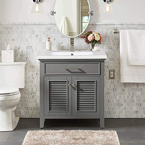 Luca Kitchen Bath LC30SGP Juliet 30 in. W x 16.5 in. D Single Sink Farmhouse Bathroom Vanity Set