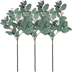 "Supla 3 Pcs Faux Eucalyptus Leaf Spray Fake Seeded Eucalyptus Leaves Branches in Grey Green 32.7"" Tall Artificial Eucalyptus Spray Greenery Wedding Eucalyptus Holiday Greens 37"