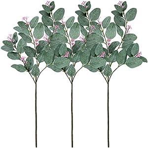 "Supla 3 Pcs Faux Eucalyptus Leaf Spray Fake Seeded Eucalyptus Leaves Branches in Grey Green 32.7"" Tall Artificial Eucalyptus Spray Greenery Wedding Eucalyptus Holiday Greens 32"