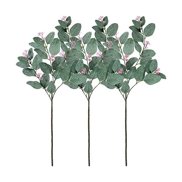 Supla 3 Pcs Faux Eucalyptus Leaf Spray Fake Seeded Eucalyptus Leaves Branches in Grey Green 32.7″ Tall Artificial Eucalyptus Spray Greenery Wedding Eucalyptus Holiday Greens