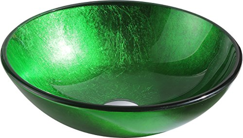 Tempered Glass Vessel Sink - Lustrous Green - Melody Series LS-AZ077 - ANZZI by ANZZI