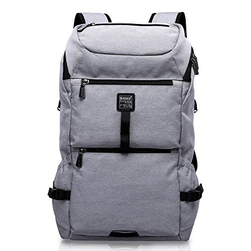 (Laptop Backpack, KAKA Business Bags with USB Charging Port Anti-Theft School Bookbag for College Travel Backpack for 15.6-Inch Laptop and Notebook, Black (Gray) (Gray))