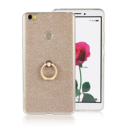 Price comparison product image Moonmini Xiaomi Mi Max. Case Cover Sparkling Slim Fit Soft TPU Back Case Cover with Ring Grip Stand Holder 2 in 1 Hybrid Glitter Bling Bling TPU phone Case Cover (Golden)