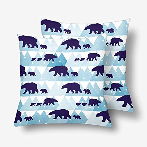 InterestPrint Cute Winter Polar Bear Watercolor Mountain Throw Pillow Covers 18x18 Set of 2, Pillow Cushion Cases Pillowcase for Home Couch Sofa Bedding Decorative