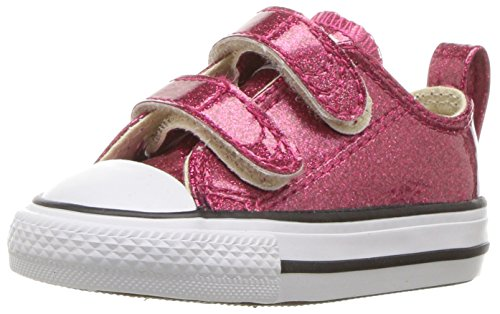 Converse Girls' Chuck Taylor All Star 2V Glitter Low Top Sneaker, Fuchsia, 7 M US Toddler