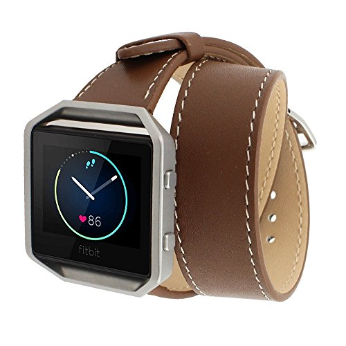 Spritech(TM) Elegance Watchband Replacement,Leather Barcelet Double Straps Band Wristband for Fitbit Blaze Watch Dark Brown
