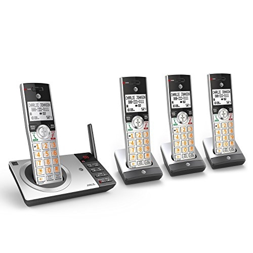 AT&T CL82407 DECT 6.0 Expandable Cordless Phone with Answering System & Smart Call Blocker, Silver/Black with 4 Handsets (Phone Base Station)
