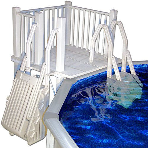 Vinyl works above ground swimming pool resin deck kit for Above ground pool decks for sale