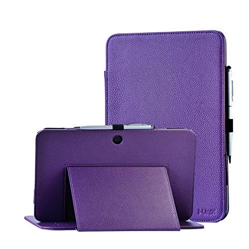 Verizon Ellipsis 10 case, i-UniK 2015 Verizon Ellipsis 10' Tablet [QTAIR7] Slim Protection PU Leather CaseBonus Stylus (Purple)