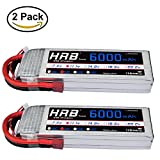 HRB 2packs 3S lipo battery 11.1v 6000mAh 50C With Deans style T plug For RC Helicopter Monster Truck Car