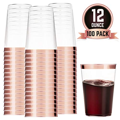 100 Rose Gold Plastic Cups 12 Oz Clear Plastic Cups Tumblers Rose Gold Rimmed Cups Fancy Disposable Wedding Cups Elegant Party Cups with Rose Gold ()