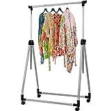 Garment Rack Heavy Duty Clothes Hanger - Single Bar Adjustable, Fold and Portable On wheels