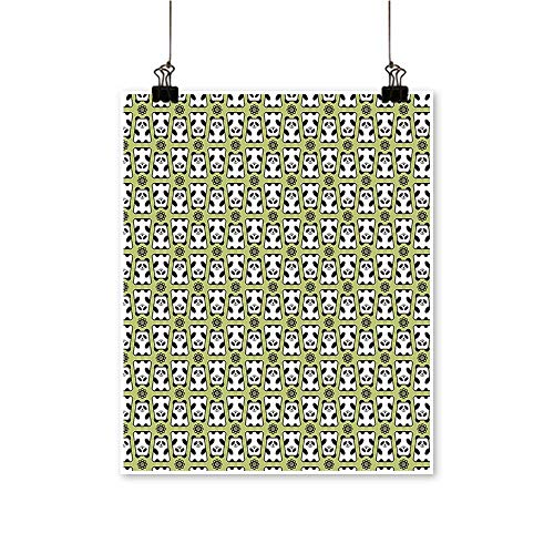 Wall Decor Down P a Pattern Daisy Funny Bears Pistachio Green Black White Wall Art for Bedroom Home,12