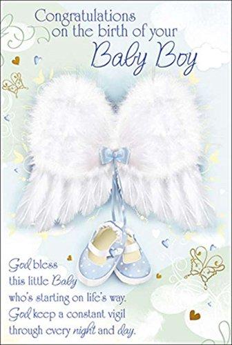 Tarjeta de felicitación de nacimiento para bebé, diseño de alas de ...