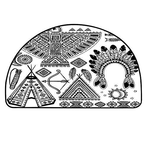 YOLIYANA Tribal Semicircle Rug,Native American Feather Head Band Ethnic Teepee Tent Bow and Arrow Art Print Floor Mat,35.4