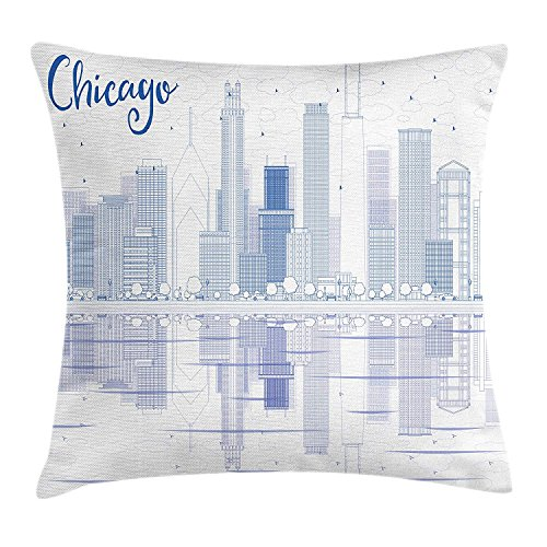 K0k2t0 Chicago Skyline Throw Pillow Cushion Cover, Skyscrapers Reflection on Lake Michigan USA City Architecture Print, Decorative Square Accent Pillow Case, 18 X 18 inches, Blue and White -