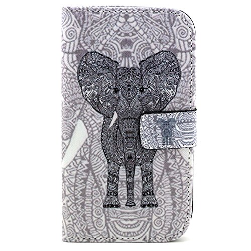I9060 Case,I9082 Case,Galaxy Grand Neo I9060 Case,IVY [ Tooth Elephant ] - Synthetic Leather Flip With Support Stents Wallet Card TPU Case Cover Skin For Samsung Galaxy Grand Neo I9060 / Samsung Galaxy Grand Duos i9082