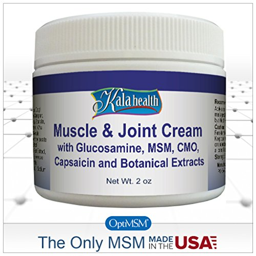 Kala Health - Natural Topical Muscle & Joint Cream - Fast Acting Topical Cream for Muscle Discomfort - Contains Glucosamine, MSM, CMO and Capsaicin to Provide Quick (Msm Joint Cream)