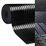 casa pura Rubber Floor Mat – Anti Slip Rubber Sheet | Suitable as Garage Floor Mat, Horse Stall Mat or Workbench Mat | Many Sizes to Choose from | Wide Ribbed | 1/8'' Thick - 40'' x 14'