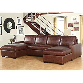 Living Room Furniture Eiffel Full Grain Vintage Leather 3 Piece Sectional Sofa  Couch Home