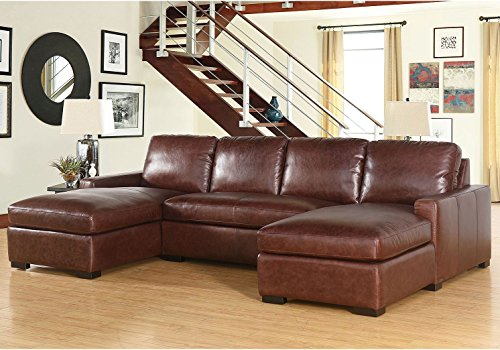 Living Room Furniture Eiffel Full-Grain Vintage Leather 3-Piece Sectional Sofa Couch Home (Full Grain Sofa)