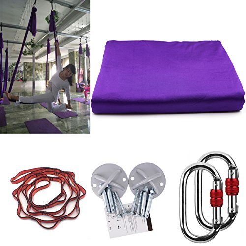 KIKIGOAL 5M Yoga Pilates Aerial Silk Kit Yoga Swing Aerial Yoga Antigravity Hammock Trapeze Silk Fabric for Yoga Strap Bodybuilding (deep purple)